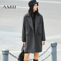 【年货节 全场2件7折】AMII[极简主义]秋冬女装新个性刺绣双排扣羊毛呢外套11673545
