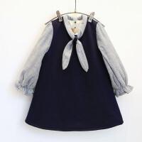 冬装女宝宝舒适连衣裙 女童学院风长袖儿童裙子