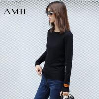 AMII[极简主义]秋天百搭修身黑色圆领套头打底毛衣女11641984