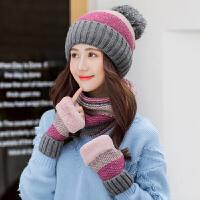 帽子女秋冬韩版百搭甜美可爱加绒潮韩国针织毛线帽手套围脖三件套
