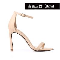 小清新高跟凉鞋女2019新款简约细跟性感一字带网红同款高跟鞋 36 标准尺码