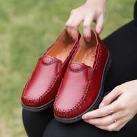 允鹿 夏季新款真皮单鞋女软底套脚低帮妈妈鞋牛皮中老年人女鞋子舒适防滑平底皮鞋