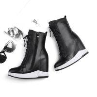 内增高12cm女鞋秋冬靴子坡跟超高跟中筒加绒雪地靴高帮马丁靴 黑色 绒里