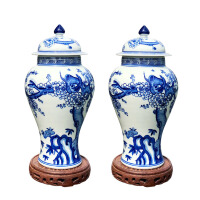 仿古手绘青花瓷将军罐小花瓶青花瓷摆件 手绘仿古景德镇陶瓷花器茶叶罐将军罐装饰礼品
