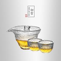 当当优品 初雪锤目纹茶具套装 光阴系列功夫茶具 1个盖碗 2个圆口品茗杯