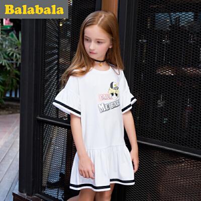 巴拉巴拉童装 公主裙女童裙子 女孩2017夏装 新款 中大童儿童连衣裙女