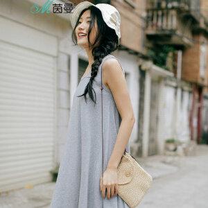 茵曼夏装新款纯棉针织圆领无袖摆显瘦连衣裙女【1872103591】