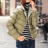 №【2019新款】女式羽绒服短款胖MM双面穿女加厚加大码宽松面包服纯色长袖外套