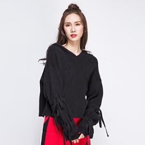 2017新款套头长袖连帽卫衣女韩版潮学生短款宽松系带堆堆袖毛衣女