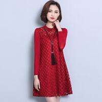 女装韩版大码宽松蕾丝连衣裙网纱长袖加绒冬季打底衫2018新品