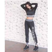 拼接短裤字母长袖长裤宽松大码长袖套装瑜伽服健身服运动跑步服三件套装女