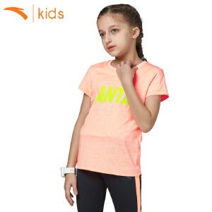 安踏童装 2018新款夏季儿童t恤纯色中大童套头女孩短袖36725142