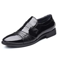 男士商务皮鞋时尚亮面男鞋英伦套脚日常休闲皮鞋子镜面上班出差鞋 黑色