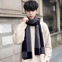 秋冬季新款男士围巾百搭简约韩版格子高档长款围脖年轻人学生针织