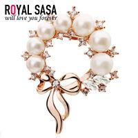 皇家莎莎RoyalSaSa配饰品人造水晶蝴蝶结人造珍珠胸针 女 韩国胸花别针领HXZ512006