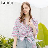 【领�幌碌チ⒓�120元无门槛优惠券】Lagogo/拉谷谷2019年夏季时尚女条纹蝙蝠袖衬衫IACC325F25