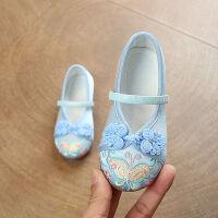 新款老北京儿童布鞋女童绣花鞋民族风宝宝公主鞋学生古装表演出鞋 蓝色 22A