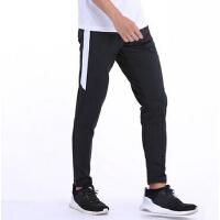 夏季薄款运动长裤男春跑步健身裤跑步裤新款弹力足球训练裤拉链口袋运动裤