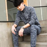 男士运动套装加绒加厚运动服束小脚收口裤休闲卫衣两件套