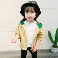 018春装新款童装0-1-2-3岁4儿童女童外套女宝宝婴儿春秋风衣上衣 黄色连帽外套 黄色