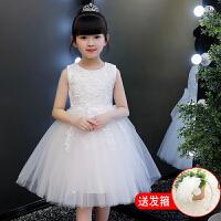 女童连衣裙夏装公主裙2018新款童装女孩韩版夏季儿童礼服洋气裙子 白色 【送发箍】