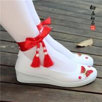 古风改良版汉服鞋子女配古装学生白色舞蹈刺绣花流苏平底坡跟cos