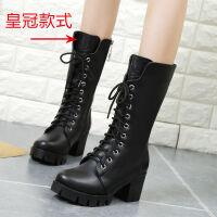温州马丁靴女英伦风粗跟军靴韩版短靴子女春秋高跟中筒靴女靴女鞋