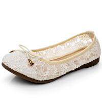 夏季老北京平底女鞋镂空蕾丝女网鞋蝴蝶结透气网面单鞋 米白色 蕾丝网D19-25