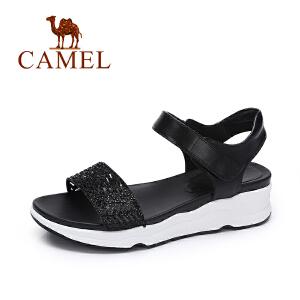 Camel/骆驼女鞋 夏季新品时尚镂空凉鞋 韩版甜美水钻凉鞋女