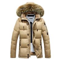 吉普盾冬季新款男士貉子毛领连帽加厚羽绒服中长款羽绒服男休闲保暖男装外套