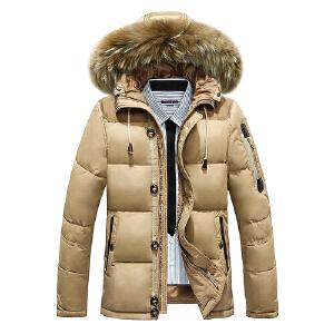 2019冬季新款男士貉子毛领连帽加厚羽绒服中长款羽绒服男休闲保暖男装外套