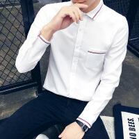 秋冬秋季修身韩版男士衬衣美式常规个性工作服理发店男装白底衬衫