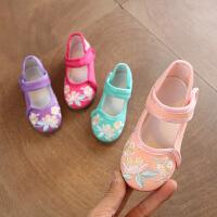 儿童布鞋女童绣花鞋民族风春秋学生舞蹈汉服鞋