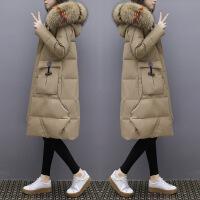 羽绒服女中长款2018冬新款韩版时尚超大毛领白鸭绒过膝加厚外套潮 卡其色(真毛领) S