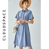 【限时抢购】云上生活2019夏新款纯色收腰短袖裙子中长款连衣裙女L3050