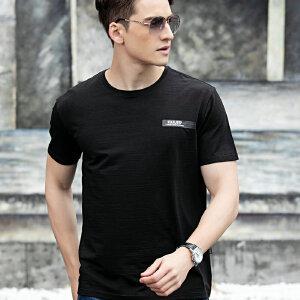 1808夏装新款战地吉普AFSJEEP纯棉弹力短袖T恤衫 V领男半袖polo衫