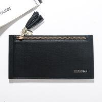 新款女士长款钱包韩版多卡位拉链手机包大容量流苏卡包女包批发