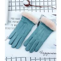 手套女冬季加绒加厚保暖麂皮绒可爱学生触屏户外骑行开车防滑手套