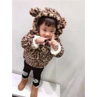 男宝宝棉衣小童冬装豹纹兔毛外套儿童保暖棉袄