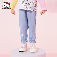 hellokitty女童牛仔裤2021春季新款儿童装长裤婴儿宝宝洋气灯笼裤