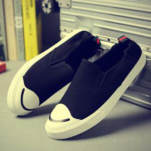 两穿帆布鞋套脚懒人休闲鞋可踩后跟松紧带半拖男黑色布鞋男鞋