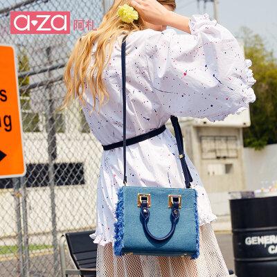 aza小包包2019新款女包ins韩版牛仔手提小方包时尚简约牛仔斜挎包 aza阿札个性新款女包