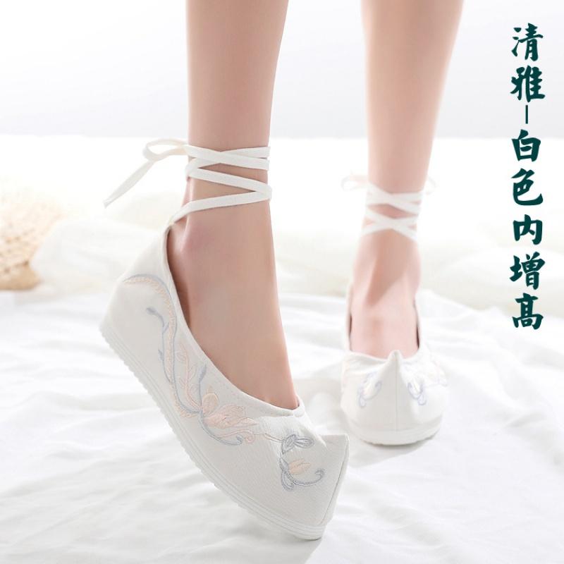汉服鞋子女古风百搭汉服搭配鞋淡雅高跟汉服鞋内增高坡跟汉鞋学生