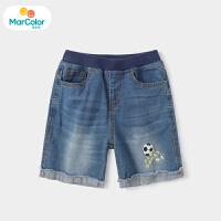 【1件4折】马卡乐童装22夏季新款男宝宝可爱足球时尚毛边中大童牛仔中裤