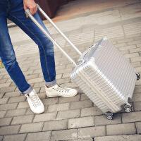 18寸行李箱多功能小型登机箱包商务铝框拉杆箱男女密码17旅行硬箱 银色 钻石款电脑箱 18寸