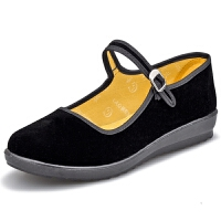 老北京布鞋女鞋单鞋坡跟平底酒店宾馆工作鞋黑色舞蹈鞋布鞋子舒适软底妈妈鞋 黑色