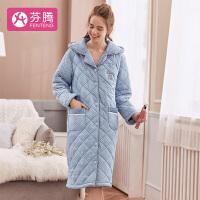 芬腾 夹棉加厚睡袍女士冬季新品简约波点口袋元素开衫连帽长袖睡袍女
