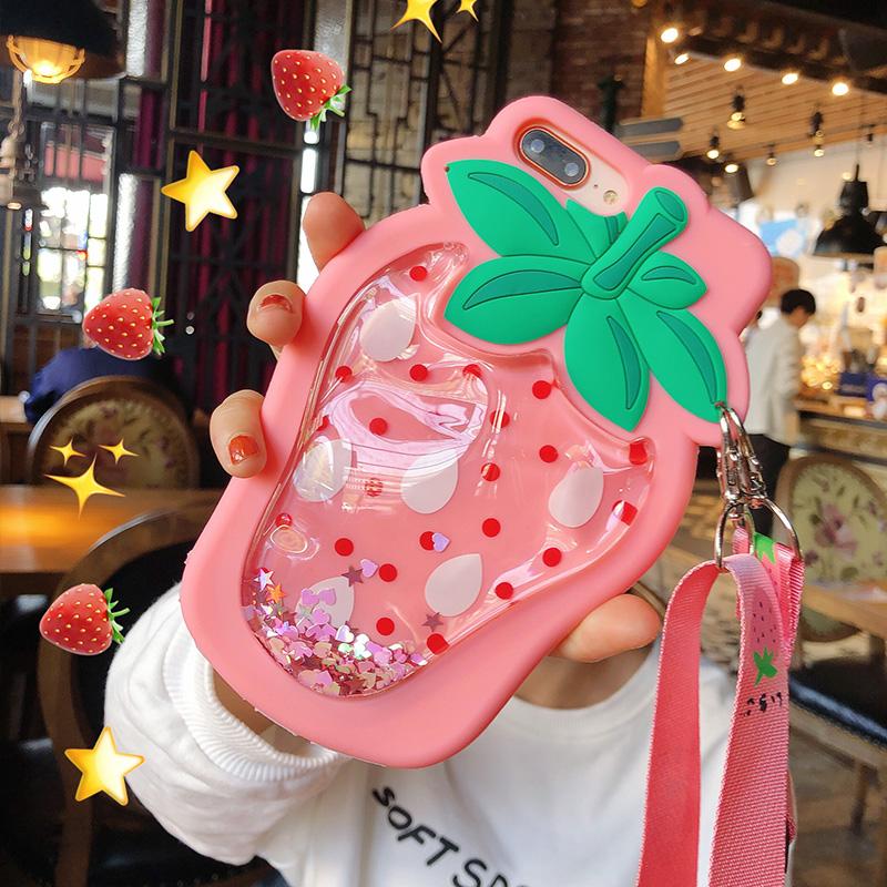 草莓苹果7plus手机壳斜挎iPhone6s个性创意x挂绳8背带斜跨xsmax女