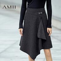 【每满200减100 多买多减 不封顶】AMII[极简主义]冬新时尚不规则层次金属扣复古半身裙11694078