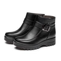 冬季妈妈鞋棉鞋加绒保暖短靴子平底防滑老人皮鞋软底中老年棉靴女 黑色